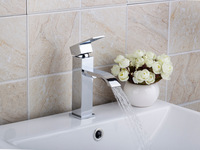 New Fashion Single Handle Stream Bain Bathroom Vanity Sink Faucet  Mixer Tap Brass Deck Mounted Chrome L-8352