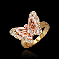 PR305 Wholesale 2014 New Butterflies 18K gold Plated dimond the Ring o bague women anel ouro anillos aneis para as mulheres
