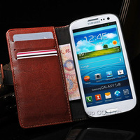 Crazy Horse Pattern PU Leather Case For Samsung Galaxy S3 i9300 Wallet Flip Cover With Stand Function and Card Holders YXF0067