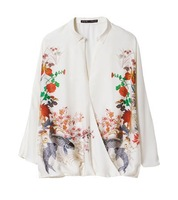Summer New Women's beautiful Breast symmetrical cross flower printing Lapel Loose Long Sleeve Shirt Lady White Blouse
