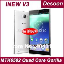 inew V3 Mobile phone Original V3 INEW V3C INEW V3 PLUS 1GB RAM 16GB ROM MTK6582 Quad Core 5.0 HD Android4.2 13MP 6.5mm/Koccis(China (Mainland))