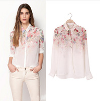 2013 Fashion Women Chiffon Blouse Women Flower Print Lapel Casual Chiffon Long Sleeved Shirt Women Tops