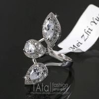 MZY Elegant Leaf Crystal Ring 18K Platinum Plated Made with Genuine Austrian Crystals Full Sizes Wholesale R098
