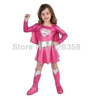2014 COOL Cosplay Costume pink superman Costumes for kids Fancy dress Halloween Party decorations supplies children gifts