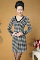Hot  New sexy V-neck korea Slim Pencil dress above knee Swallow gird, office lady  3XL women's clothing