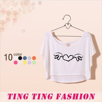 Cute dress new 2013 autumn tops and short design dope letter short-sleeve Angel T-shirt female fashion novelty dresses crop top