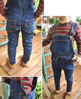 2013 new style 5pcs\lot Boys wear Fashion suspender jeans pant kid cotton denim pant Wholesale boy skinny bib pants wear spring