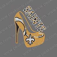 Free Shipping 30Pcs/Lot Fashion Saints Rhinestone High Heels Crystal Iron On Motif Heat Transfer Applique