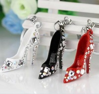 Hot! Fashion 3Colors Rhinestone High-heeled Shoes Keychain Keyring Creative Key Chain Ring Free Shipping