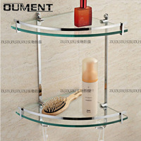 Free shipping Copper double layer glass shelf bathroom triangle rack belt towel hook bathroom accessories large capacity