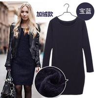 brand new 2014 Autumn winter fashion basic plus size long sleeve women's winter casual dress plus velvet