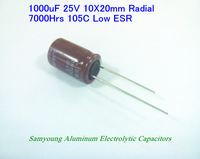 2013 New Original 1000uF 25V 20% 10X20mm Radial 5mm 1910mA 7000h 105C Low ESR Aluminum Electrolytic Cap / 500pcs/Box Stock