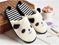 2014Fashion New Popular Panda Striped Skidproof Home Slippers,Lovely Animal Slippers,Winter Warm Plush Slippers For Men&Women