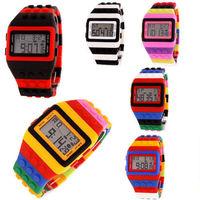 New LED Digital Classic Wrist Watch Men Women Children Rainbow Multicolor Block watches reloj digital  Valentine's day gift