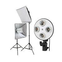 E27 4 Socket light Stand Photo Lamp Bulb Holder Bracket + 50cm*70cm Softbox +2m Light stand Kit