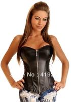 CL4003 Strapless Zipper Decoration Women Sexy Lingerie Corset and Bustiers Fashion Black Leather Corset S M L XL