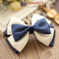 Soaux accessories bow hair accessory ribbon hair accessory hair accessory clip blue small polka dot elegant 1038