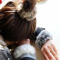 Plush velvet solid color rex rabbit hair fur headband hair rope quality autumn and winter hair accessory tousheng d964
