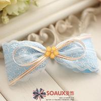 Handmade accessories bow hairpin fresh Sky Blue white lace accessories hair accessory 1081