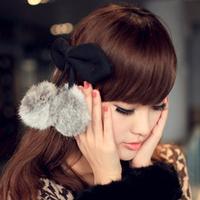 Medium cherry rabbit fur ball fur rabbit ears bow open toe hairpin clip hair accessory hair accessory