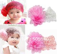 2014 NEW designs TOP BABY flower Bouquet HEADBAND hat wide ribbon lace headdress cap hair band girls head wrap 36262589056
