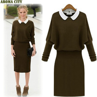 new 2013 fashion knitted long sleeve high waist  plus size  spring autumn winter woolen casual vintage dress for women