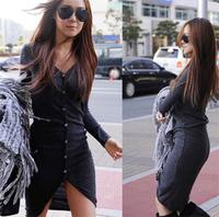 2014 autumn long-sleeve single breasted sweater outerwear full body slim long shirt design v-neck dress