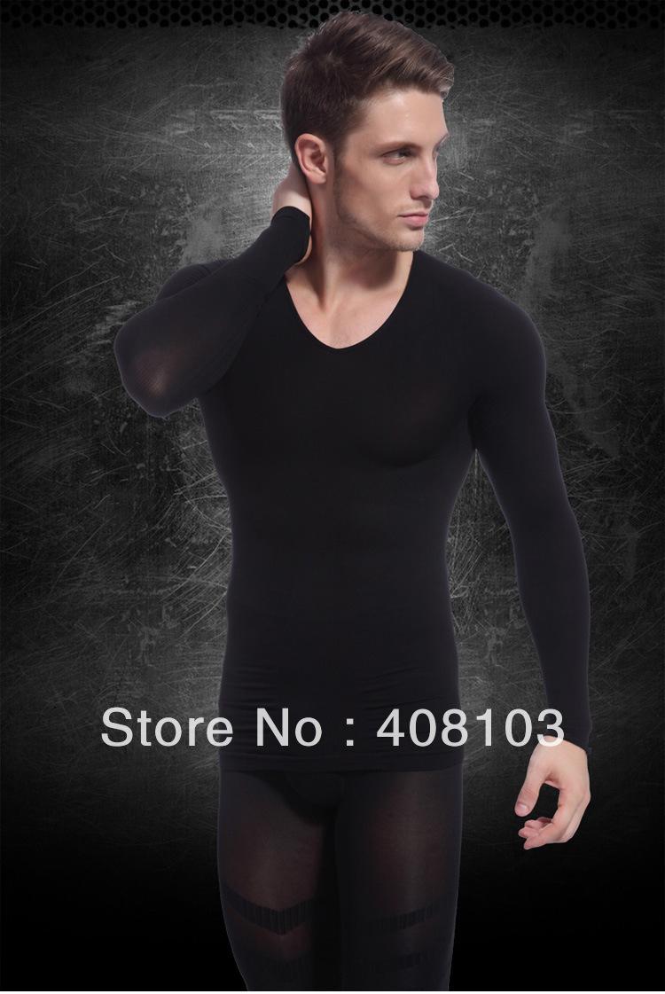 100pcs/lot Black Men's Body Shaping Long Sleeve Underwear Winter Thermal Slimming Underwear (Retail Package)(China (Mainland))