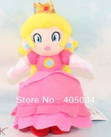 Plush peach princess doll standing pink plush toys super mario dolls Christmas gift 10pcs/lot