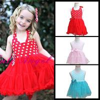 New summer Children Wedding Dresses Girls Princess Bowknot Waist Dot Print baby girl sleeveless Tutu Dress Kids Clothing