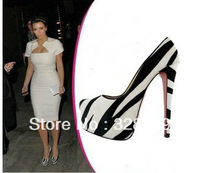 New Fashion Celebrity Wearing 160mm Platform Zebra Printed Pumps Designer Red Bottom Horsehair High Heel Shoes