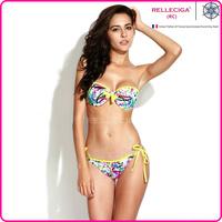 RELLECIGA 2014 Chic Doodle Print Playful Ruffle Bandeau Bikini Set Swimsuit with Ties at Back and Neck Women Swimwear