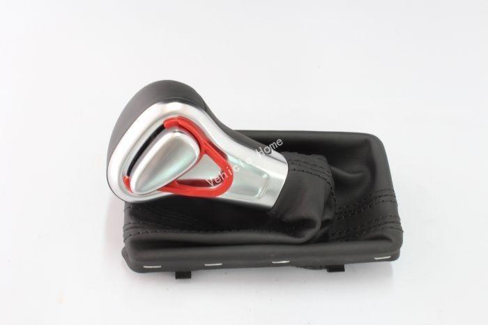 Leather Chrome Shift Knob Fit For VW AUDI A3 A4 A5 A6 Q7 Q5 2009 2010 2011 2012(China (Mainland))