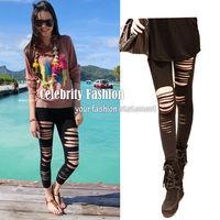 L84 Celebrity Style Gossip Girl Punk Rock Star Slashed Torn Ripped Women's Leggings Pant Free Drop Shipping