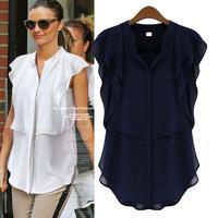 Innovative Items Womens Clothing Petal Short Sleeve Blouses Chiffon Shirts Camisas Femininas Fashion Top For Women Blouse t018