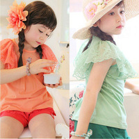 Child baby children's clothing female child 2013 spring cotton gauze 100% short-sleeve T-shirt basic shirt