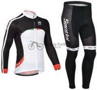 Free shipping! Santini 2013 team Winter thermal fleeced clothes long sleeve cycling jersey pants bike bicycle wear set
