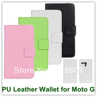 100PCS EMS/DHL Black Book Style PU Leather Wallet Case for Motorola Moto G DVX Elegant Covers Free Shipping