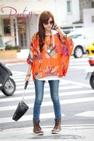 free shipping new 2014 novelty  T-shirt casual chiffon for women blouses XL big size fashion loose batwing sleeve peplum print
