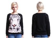 Fashion Hoodies Women Pullovers Tiger Leopard 3d Print Long Sleeve Loose Sweatshirts/Free shipping