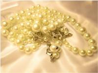 Rhinestone pearl necklace European and American female Korean long paragraph sweater chain