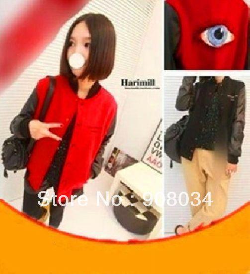 [S914] Women's and Mens jacket Big Eyes Backside Varsity 2014 Embroidery PU Sleeved Baseball Jacket /Sportwear(China (Mainland))