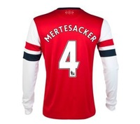 New 13/14 Arsenal Home Long Sleeve Jerseys #4 Mertesacker Red Shirt Football kit 2013-14 Cheap Soccer Unforms free shipping