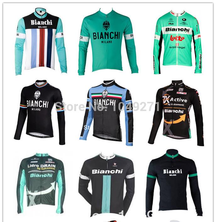 2014 bianchi, fahrrad sportbekleidung, bunte, frühling fahrrad reiten shirts, outdoor longt Ärmel radtrikot