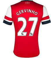 New 13-14 Arsenal Home Jerseys #27 Gervinho Red Shirts Football kit 2013-14 Cheap Soccer Unforms free shipping