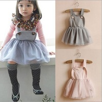 4pcs/lot 2014 spring autumn baby girl suspender dress, 1004