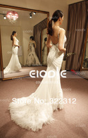 Actual Image Real Photo Mermaid Chiffon Beadings Straps Feathers Ivory White Fashion Evening Dress Prom Gowns Elie Saab Dresses