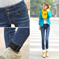Plus velvet thickening plus cotton jeans female all-match pencil pants buttons pants