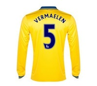 New 13/14 Arsenal Away Long Sleeve Jerseys #5 Vermaelen Yellow Shirt Football kit 2013-14 Cheap Soccer Unforms free shipping