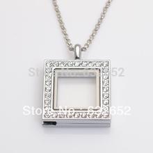 Free shipping magnetic floating locket, square sharp with rhinestones floacting charm lockets FN0018(China (Mainland))